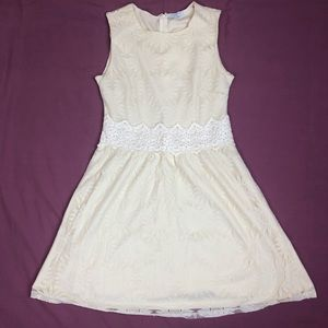 Jun and ivy cream sunflower lace mini dress
